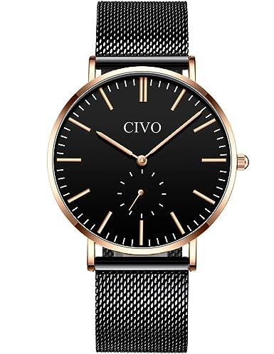 CIVO Relojes de Hombre Lujo Impermeable Ultra Fino Reloj de Acero Inoxidable Minimalista Moda Deportivo Casuales