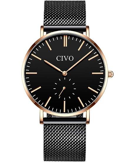 CIVO Relojes de Hombre Impermeable Ultra Fino Reloj de Acero Inoxidable Minimalista Moda Deportivo Casuales Clásico Negocios Relojes de Pulsera para ...