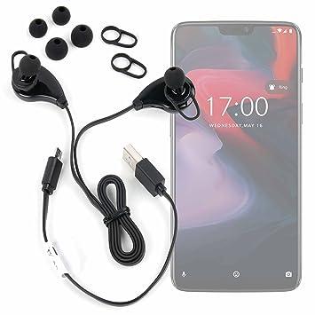 DURAGADGET Auriculares inalámbricos en Color Negro para Smartphone OnePlus 6