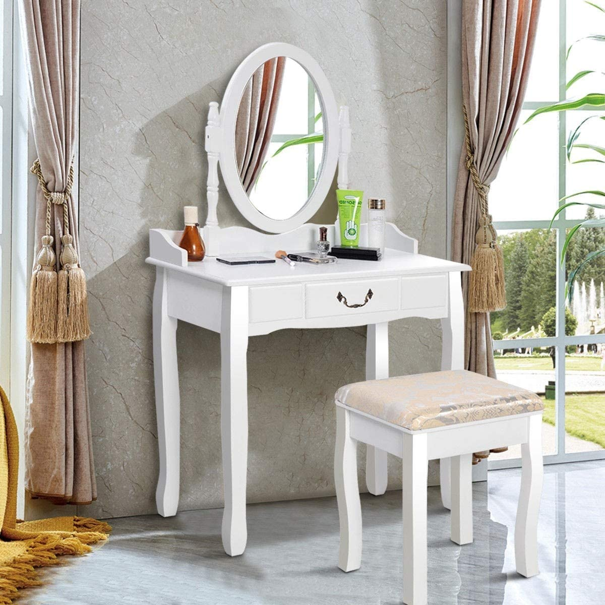 WaterJoy Vanity Set, White Vanity Dressing Oval Mirror Makeup Table with 360 Degrees Rotating Mirror, Makeup Cushioned Stool Wood Dressing Desk with 1 Drawer for Bedroom Furniture