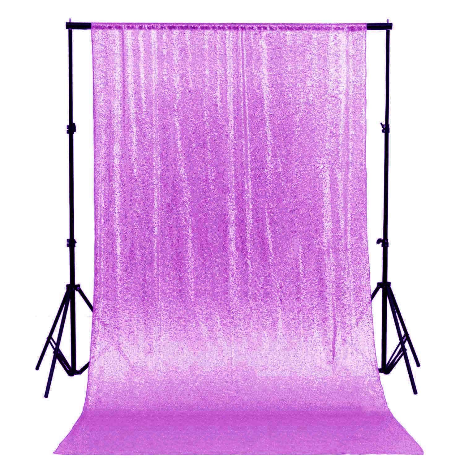 DUOBAO Sequin Backdrop Curtain 4FTx6FT Lavender Glitter Background Lavender Sequin Photo Backdrop Prom Party Decor~0613 by DUOBAO