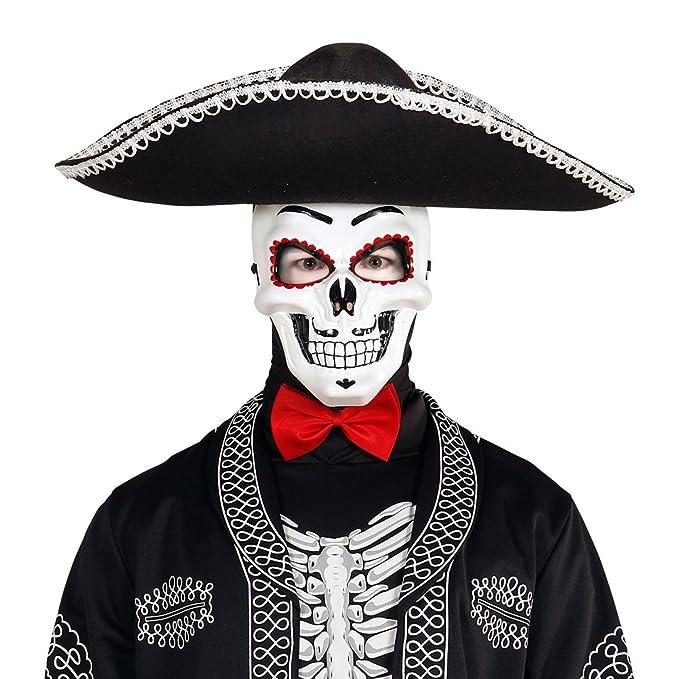 Careta La Catrina Máscara esqueleto Sugar Skull Accesorio fiesta mexicana Día de los muertos Cubre rostro terrorífico halloween Antifaz Día de los muertos ...