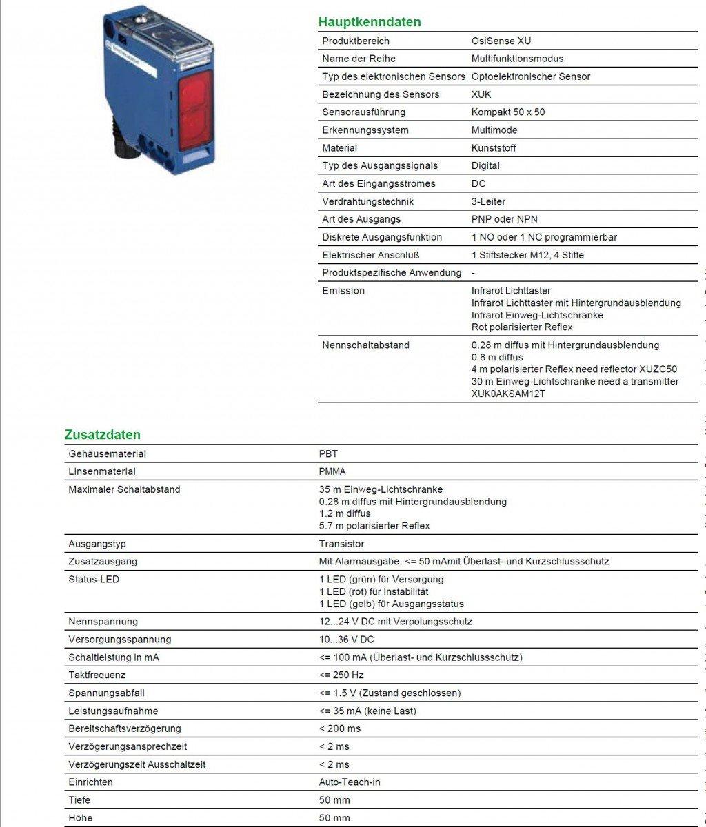 Schneider Electric XUK0AKSAM12 Sensor Fotoelétrico, Xuk, Multi, Sn 0-30 M, 12-24 Vcc, M12: Amazon.es: Industria, empresas y ciencia