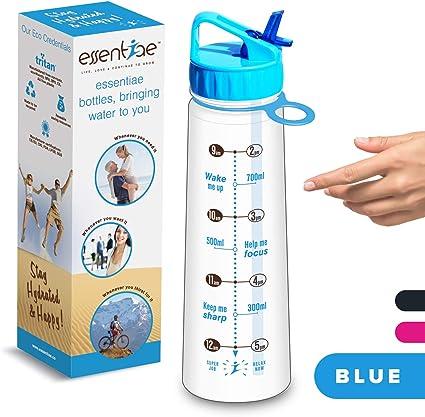 Motivational eau potable Tracker Bouteille Pour Hydratation objectifs 900 ml Bleu