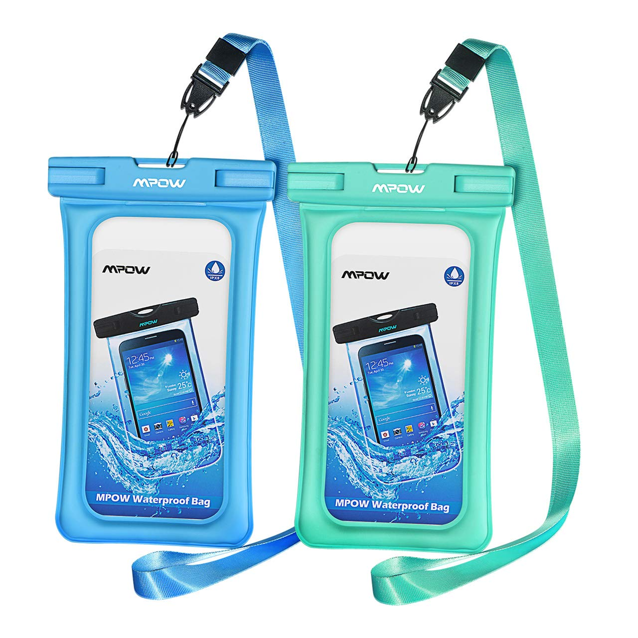 Mpow 084 Waterproof Phone Pouch Floating, IPX8 Universal Waterproof Case Underwater Dry Bag Compatible iPhone Xs Max/Xr/X/8/8plus/7/7plus Galaxy s10/s9/s8 Note 9 Google Pixel up to 6.5'' (Blue+Green) by Mpow