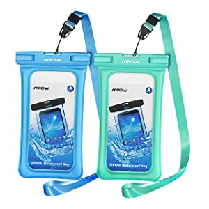 """Mpow 084 Waterproof Phone Pouch Floating, IPX8 Universal Waterproof Case Underwater Dry Bag Compatible iPhone 11/Xs Max/Xr/X/8/8plus/7plus Galaxy s10/s9 Note 10/9 Google Pixel up to 6.5"""" (Blue+Green)"""