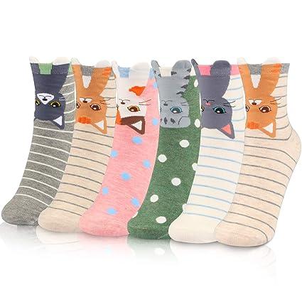 6b9990ddc WOSTOO Calcetines de Mujer, 6 Pares Calcetines de Algodón para Mujeres  Colores Mezclados Animales de Dibujos Gato Patrón Calcetines Calcetines ...