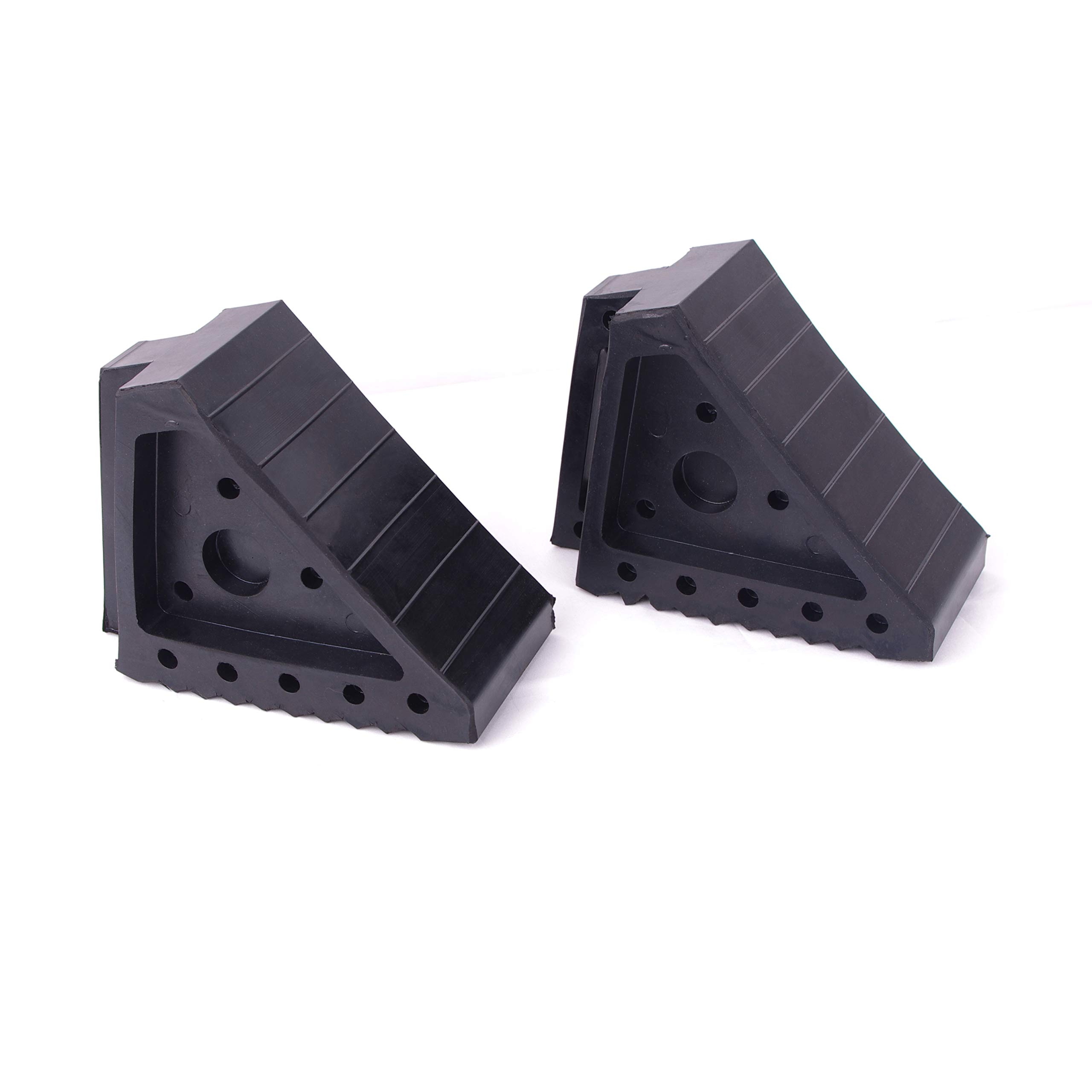 HIGOOD Solid Rubber Wheel Chock with Handle for The Car, Strong and Durable,8'' Length, 4'' Width, 6'' Height - Pack of 2