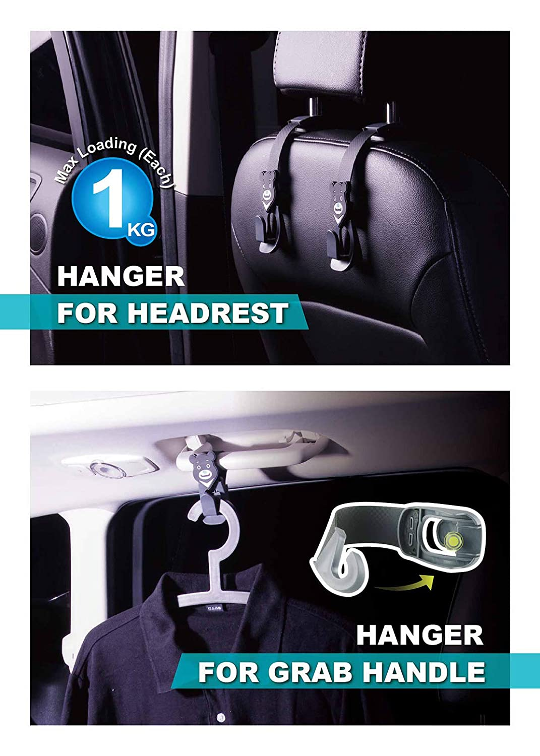 Hypersonic Bear Lovely Headrest Hanger Car Vehicle Soft Durable Back Seat Hooks for Grocery Bags O AND K JAWS CO LTD