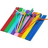 TININNA Flexizone Bunt Kunststoff Trinkhalme Strohhalme mit Knoten 100 Stück