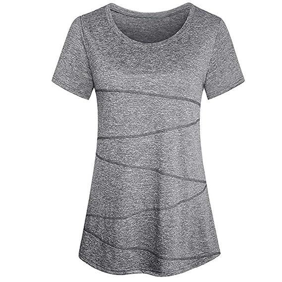 Blusa Fahsion para Mujer, Manga Corta SunGren Yoga Tops Ropa Deportiva Running Workout Camiseta sólida