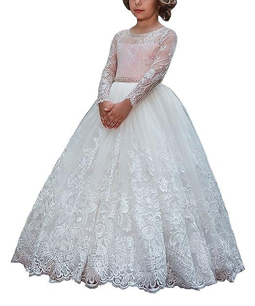 fca0dd00781dd VIPbridal Fiore ragazze prima comunione abiti con maniche lungo corteo   Amazon.it  Abbigliamento