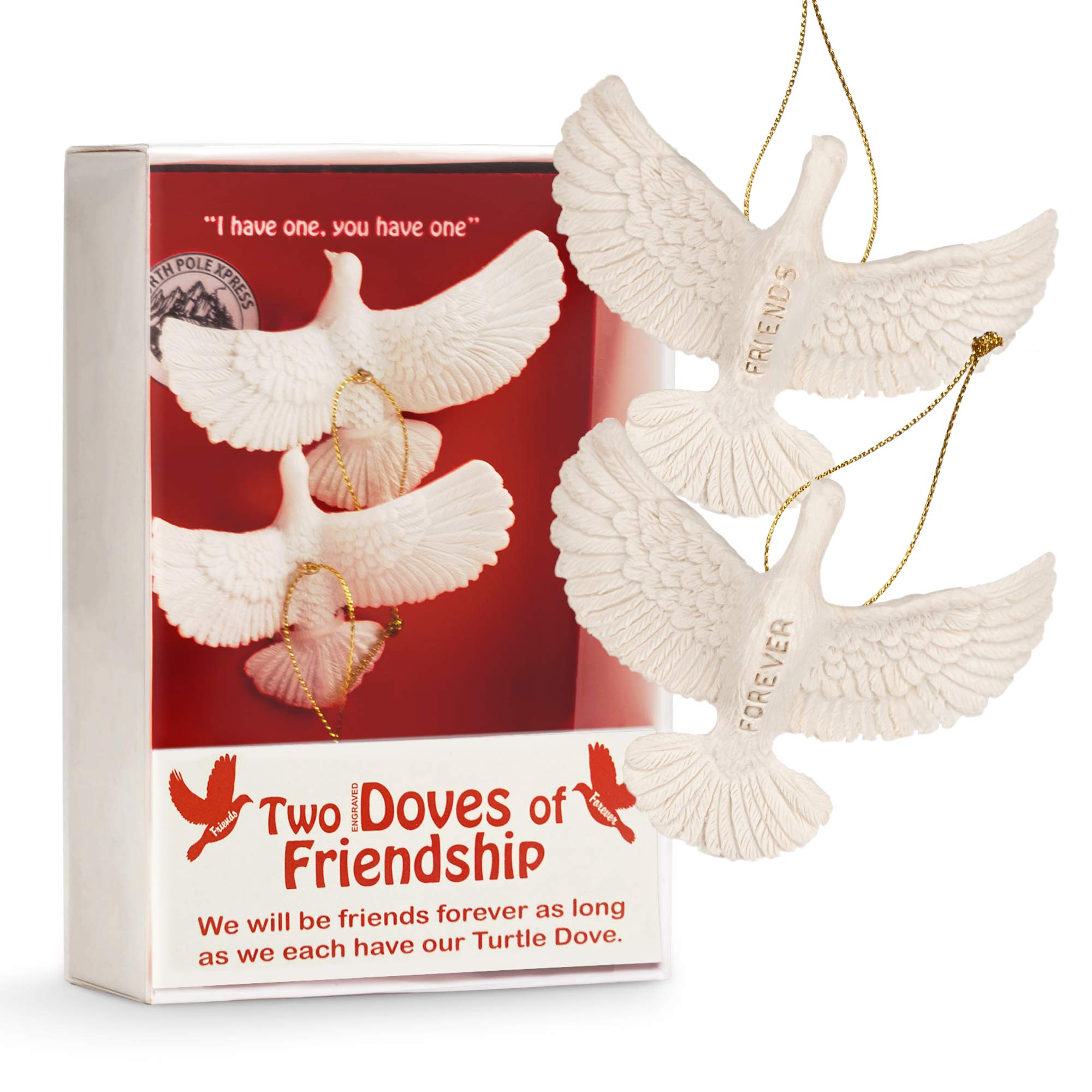 NorthPoleXpress Turtle Doves Friendship Christmas Ornaments - Set of Two Doves Engraved with Friends Forever - Two Turtle Dove Ornament from Home Alone 2 Lost in York