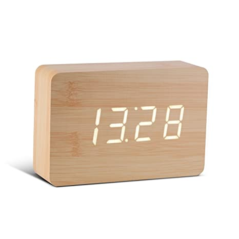 Gingko GK15W11 Reloj Digital Click Clock ladrillo Form, Madera de Haya con LED