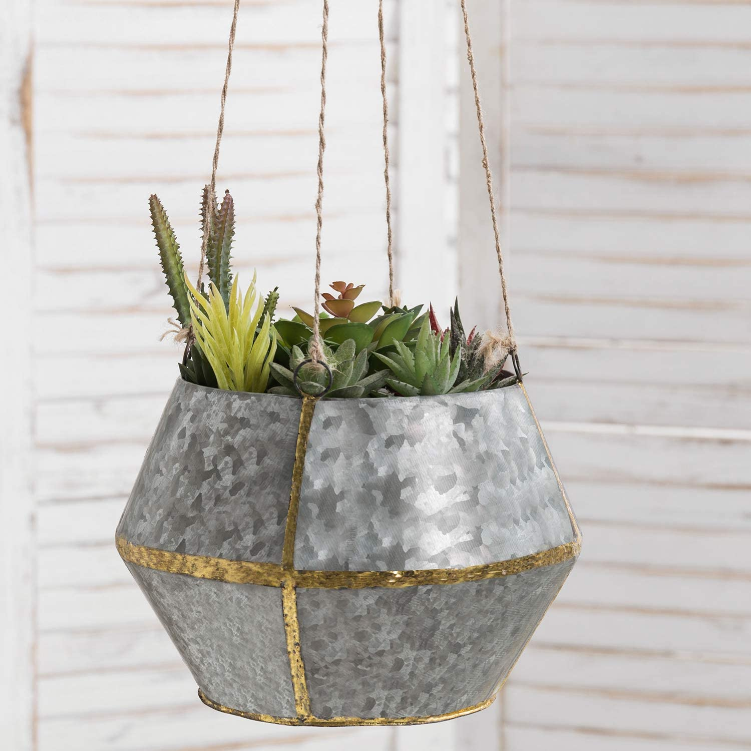 MyGift Decorative Rustic Silver Galvanized Metal Hanging Planter with Brass Tone Weld Accents & Twine Rope