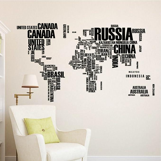 Amazon.com: World map English alphabet wall stickers living ...
