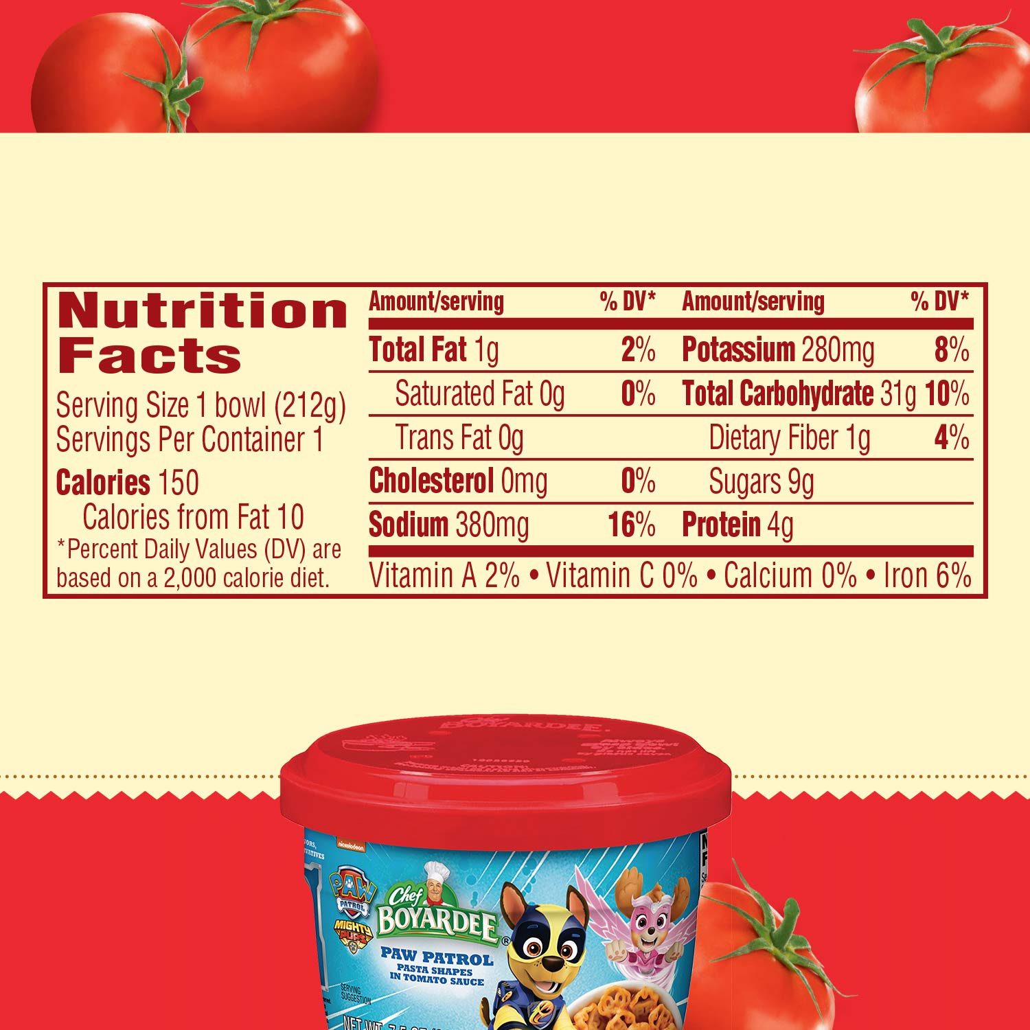 Chef Boyardee Paw Patrol Pasta Shapes in Tomato Sauce, Microwavable Bowl, 7.5 oz, Pack of 12