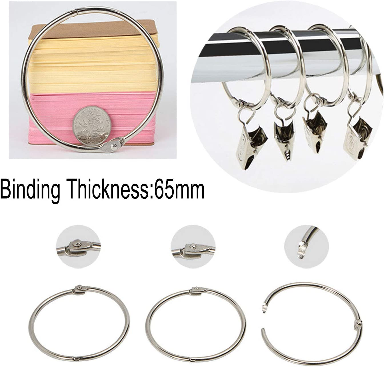 8 Pack Luckkyme Loose Leaf Binder Rings Nickel Plated Book Rings Key Chain Rings 3.5 Inches