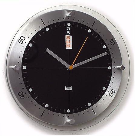 BAI Timemaster Brushed Aluminum Day Date Wall Clock, Black