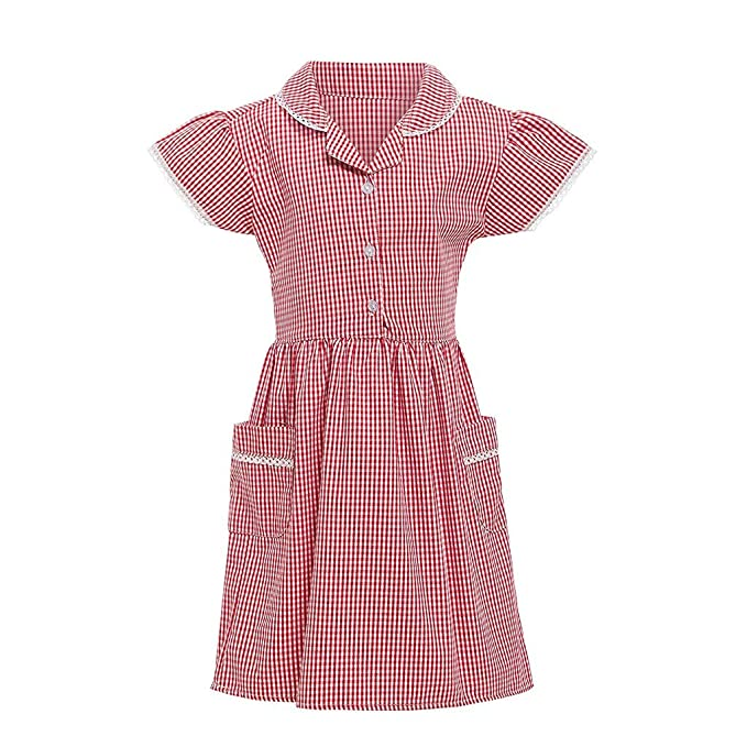 1930s Childrens Fashion: Girls, Boys, Toddler, Baby Costumes Kids Gingham Girl Princess Turndown Lace Plaid Check Pocket School Dress Outfits $5.29 AT vintagedancer.com