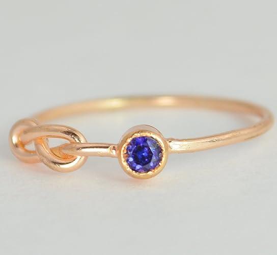 Amazon 14k Rose Gold Sapphire Infinity Ring Handmade