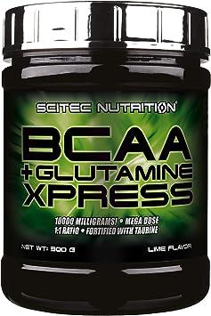 Scitec Nutrition BCAA + Glutamine Xpress, enriquecida con taurina, sin azúcar, 300 g, Lima