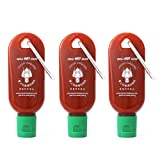 Mini Sriracha Hot Sauce Bottle Keyring 3 PACK - Pocket Sriracha ® - Bring Hot Sauce with you Everywhere - Great Chilli Sauce Gift (Shipped Empty)