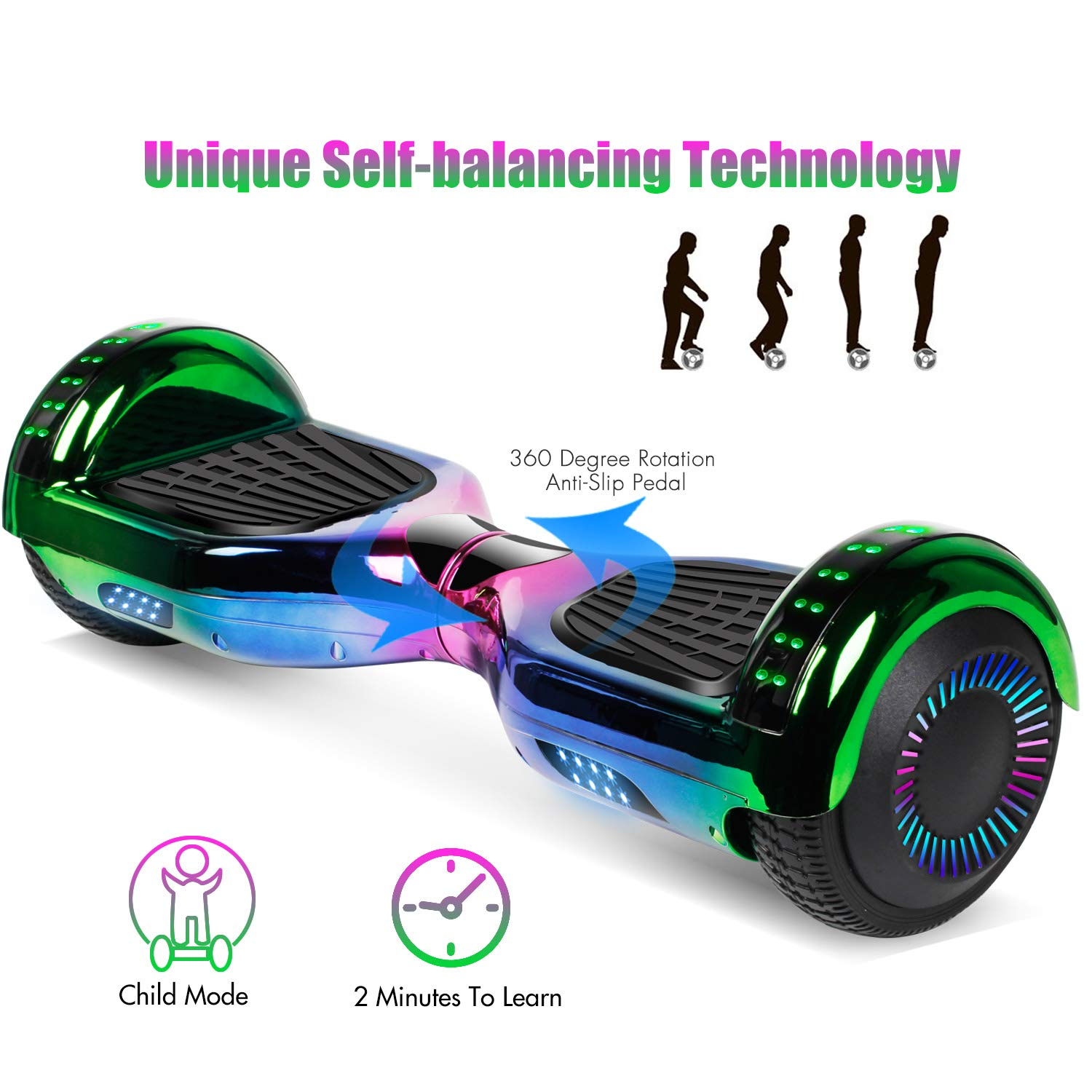 jolege Hoverboard with Bluetooth 6.5 inch Self Balancing Hoverboards for Kids with LED Flahing Lights-UL2272 Certified by jolege (Image #3)