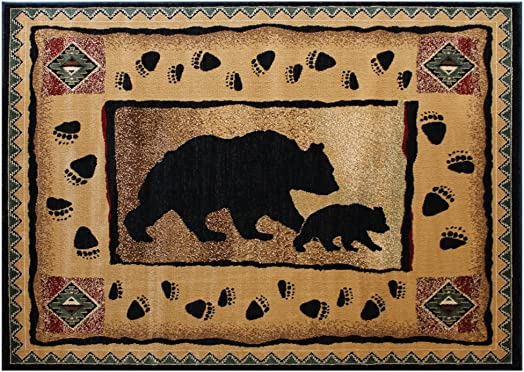 Cabin Lodge Area Rug with Bear And Cub Image 7 Feet 7 Inch X 10 Feet 6 Inch
