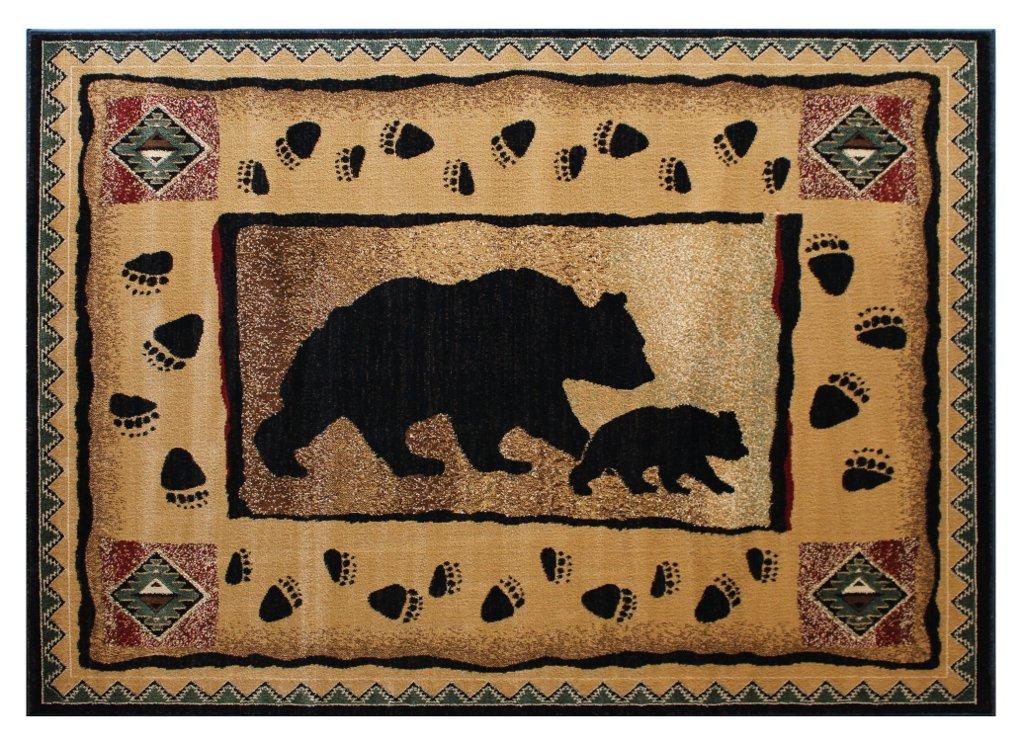 Runner 2 Feet 4 Inch X 10 Feet 10 Inch Cabin Lodge Long Runner Area Rug Bear Cub Image
