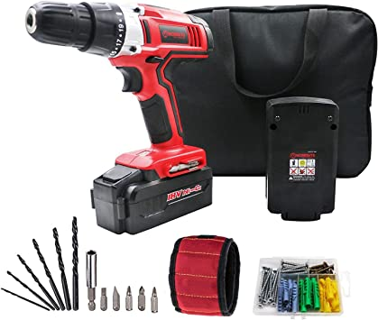 WORKSITE 18V Cordless Electric Drill ScrewDriver with 1300mA Lithium-Ion Battery Lightweight Magnet Wristband Built-in LED Light Variable Speed Switch 16 Position Keyless Clutch 29 Pcs Bits Set