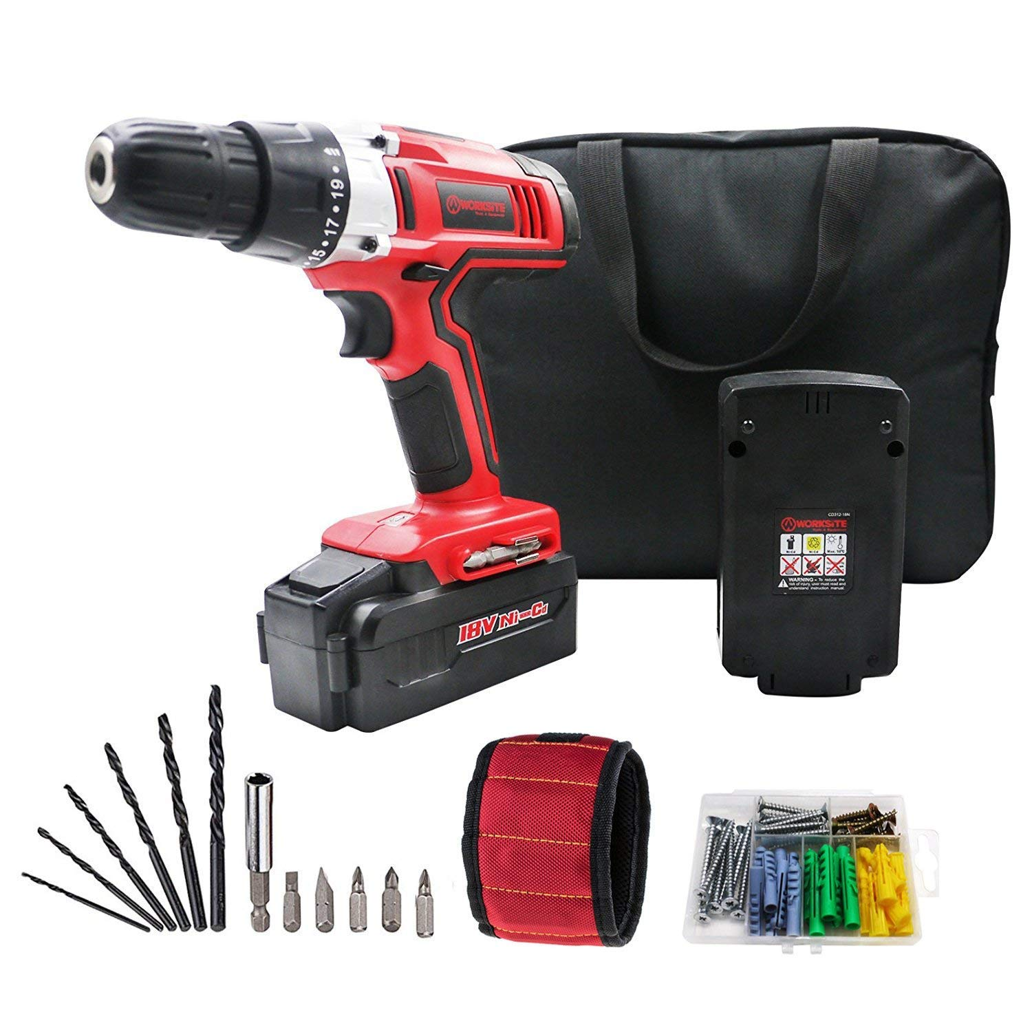 WORKSITE 18V Cordless Drill with 2 Pcs 1200 mAh Batteries, 20 Position Keyless Clutch, Variable Speed Switch, LED Light, Expansion Screw, Magnet Wristband and 13 Pcs Bit Accessory Set