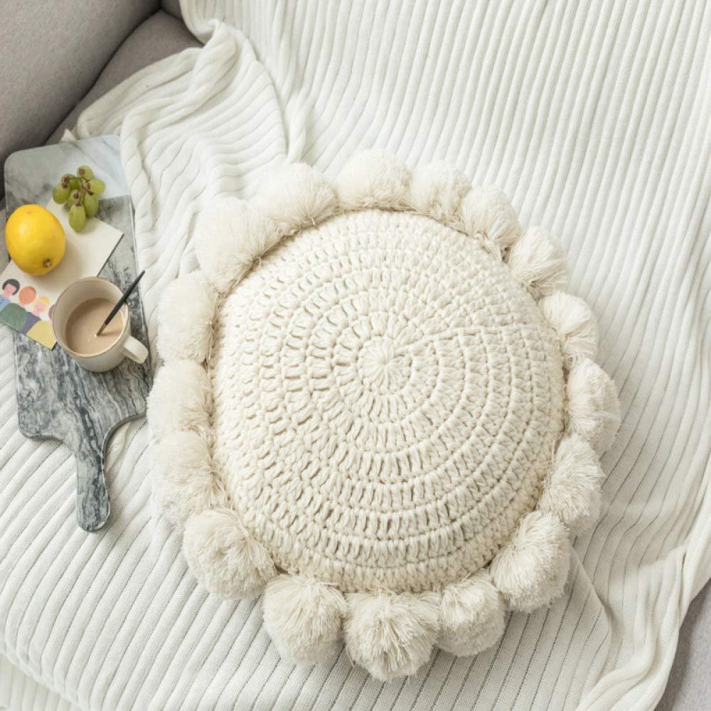 FASTCXV Yutu Home Creative Round Ball Pillow Nordic Design Handmade Wool Sofa Cushion Cushion Solid Color Pillow Beige White 5050cm by FASTCXV