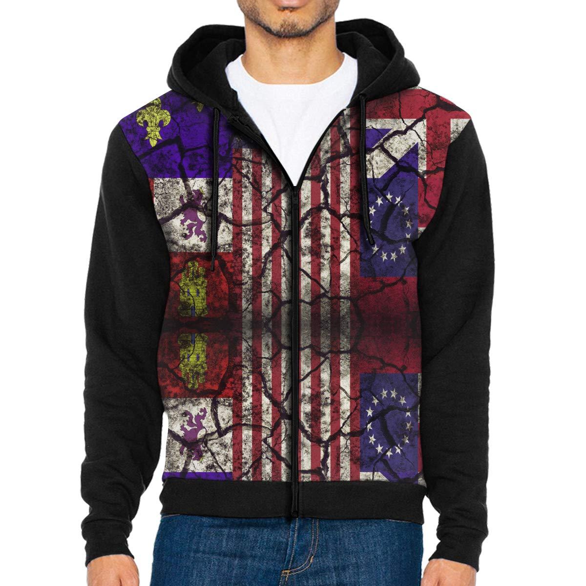 Mens Broken Vintage USA Flag Full-Zip Hoodie Jacket with Pocket