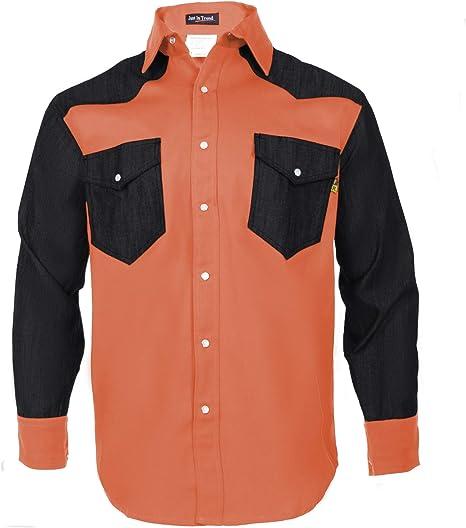 Just In Trend - Camisa resistente al fuego FR 88/12 estilo occidental en dos tonos: Amazon.es: Ropa y accesorios