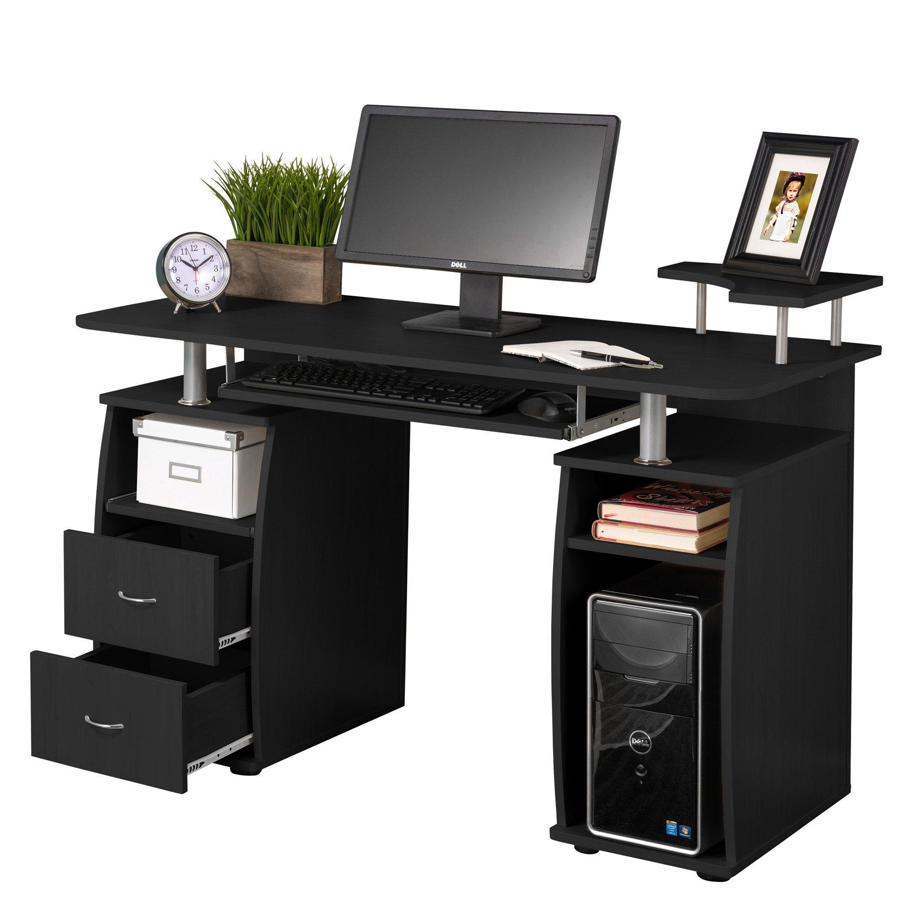 Fineboard Home Office Computer Desk, Black (Black)