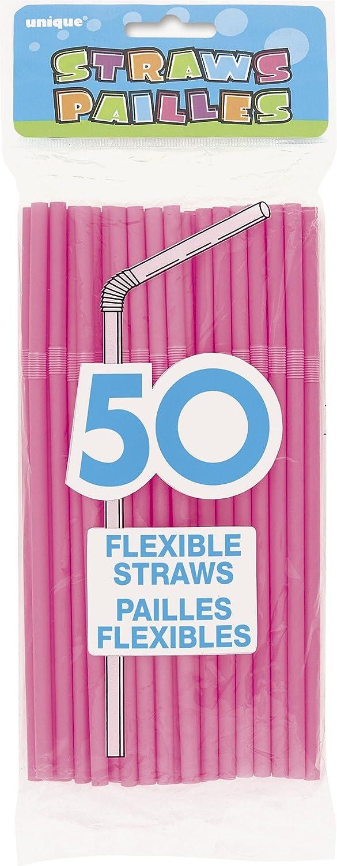 Flexible Black Drinking Straws, 50ct Unique 91249