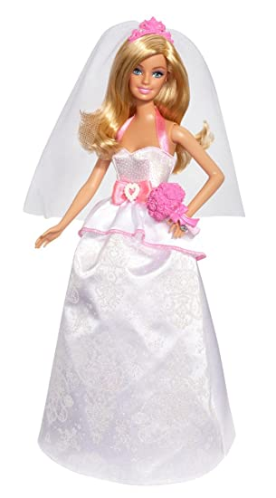 Barbie Muñeca, traje de novia, color blanco y rosa (Mattel BCP33)