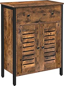 HOOBRO Industrial Storage Cabinet, Floor Cabinet with Drawers and Adjustable Shelves, Cupboard, Sideboard, Double Unique Louver Doors, Suitable for Living Room, Study, Kitchen, Corridor BF25CW01