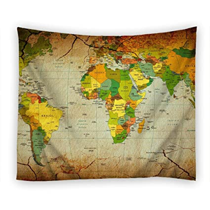 World Map Countries Continents.Amazon Com Moslion Wall Tapestry Maps Countries Continents World