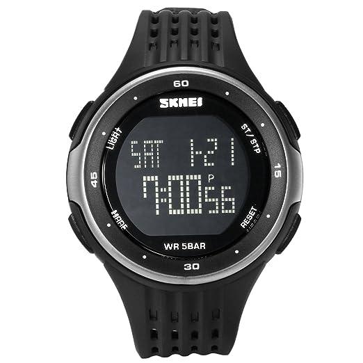 cbc6654405b0 Lancardo Reloj Deportivo Digital de Dual Tiempo Multifunciones de  Cronómetro Cuenta Atrás Alarma Pulsera Electrónica con