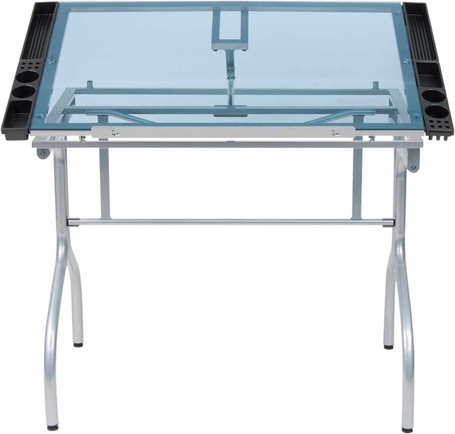 "Studio Designs Folding Modern Glass Top Adjustable Drafting Table Craft Table Drawing Desk Hobby Table Writing Desk Studio Desk, 35.25"" W x 23.75"" D, Silver / Blue Glass"