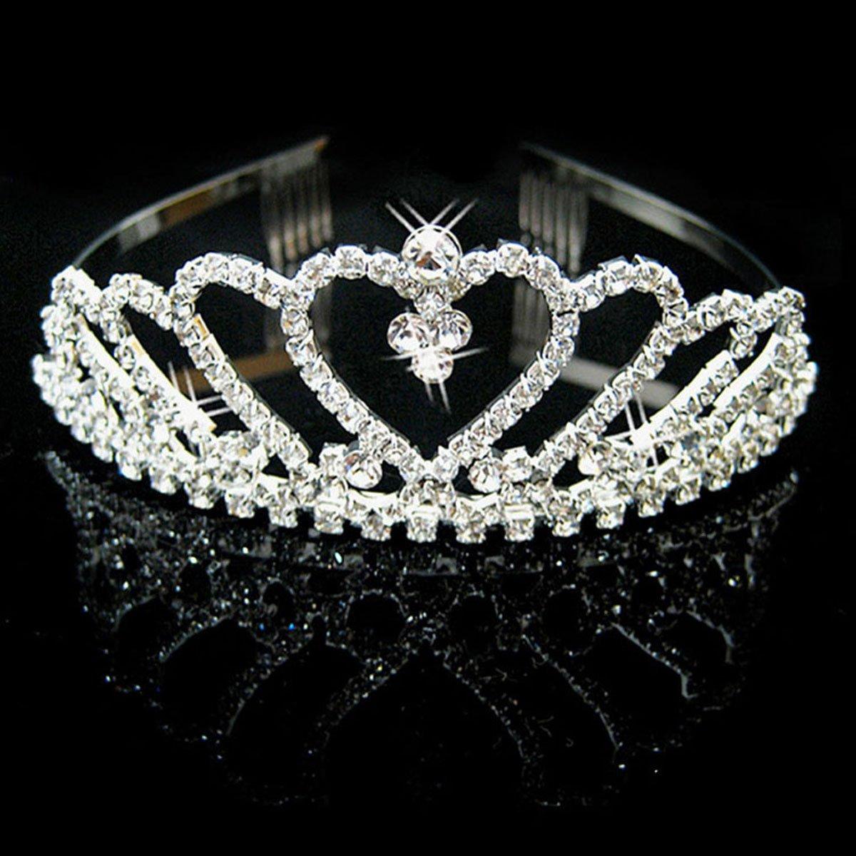 AshopZ Women's Rhinestone Wedding Bridal Party Birthday Crown Tiara Heart-Shape