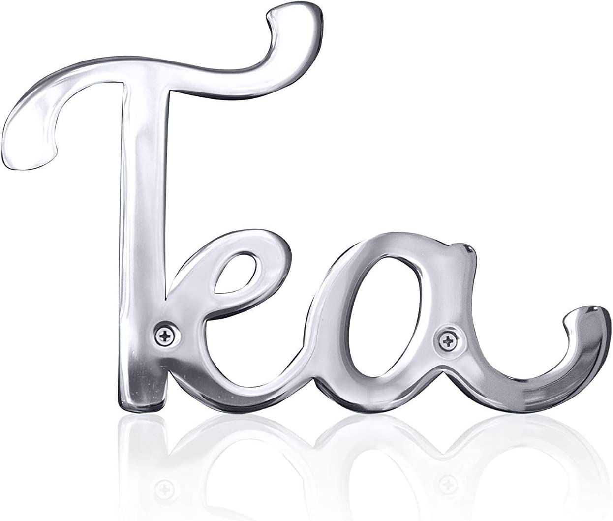 Way Of Hearts Steel Metal Tea Sign For Farmhouse Kitchen Wall Decor, Rustic Vintage Kitchen Dining Room Decoration, Mirror Polished Stainless Steel Laser Cut Out Signs, Silver, 7.4