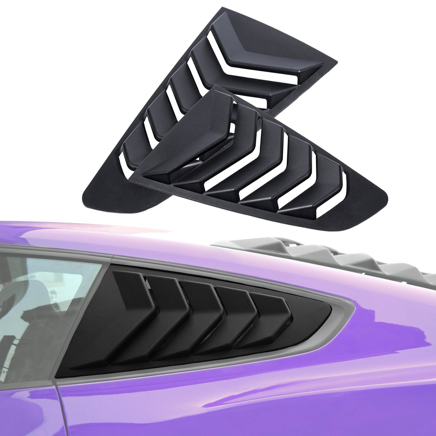 Yoursme Window Visor Black ABS Rear Side Window Louvers Cover Fits 2015 2016 2017 Ford Mustang