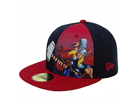 reputable site fb8ef 437e6 NEW ERA 59Fifty Marvel Thor Panel Official Hat Black  Red  Gray Men Fitted  Cap