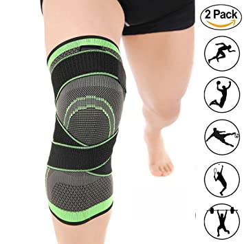 37ee5a015fd Sport Knee Brace Compression Breathable Wrap Support Elastic Knee Sleeve 2  Packs with Adjustable Strap for