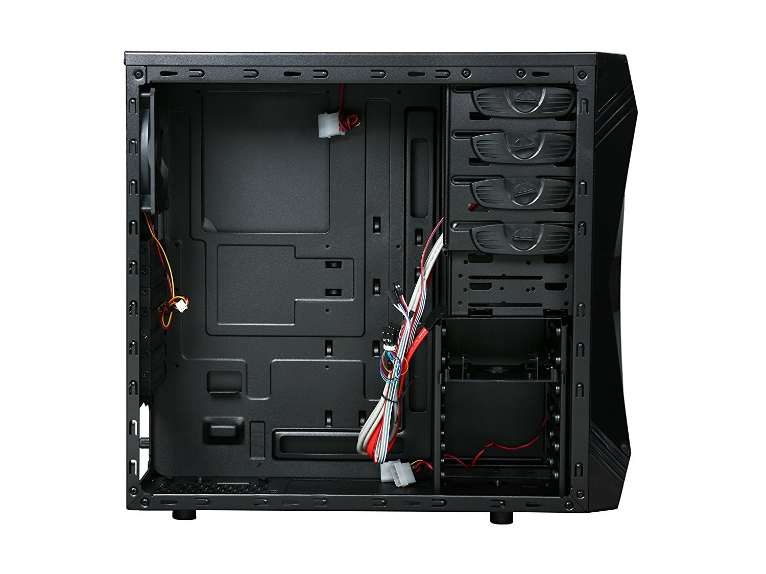 ROSEWILL ATX Mid Tower Gaming Computer Case, Gaming Case with Blue LED for Desktop / PC and 3 Case Fans Pre-Installed, Front I/O Access Ports  (CHALLENGER) by Rosewill (Image #6)
