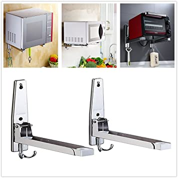 Recipiente de microondas de acero inoxidable con gancho, soporte de microondas para microondas, longitud