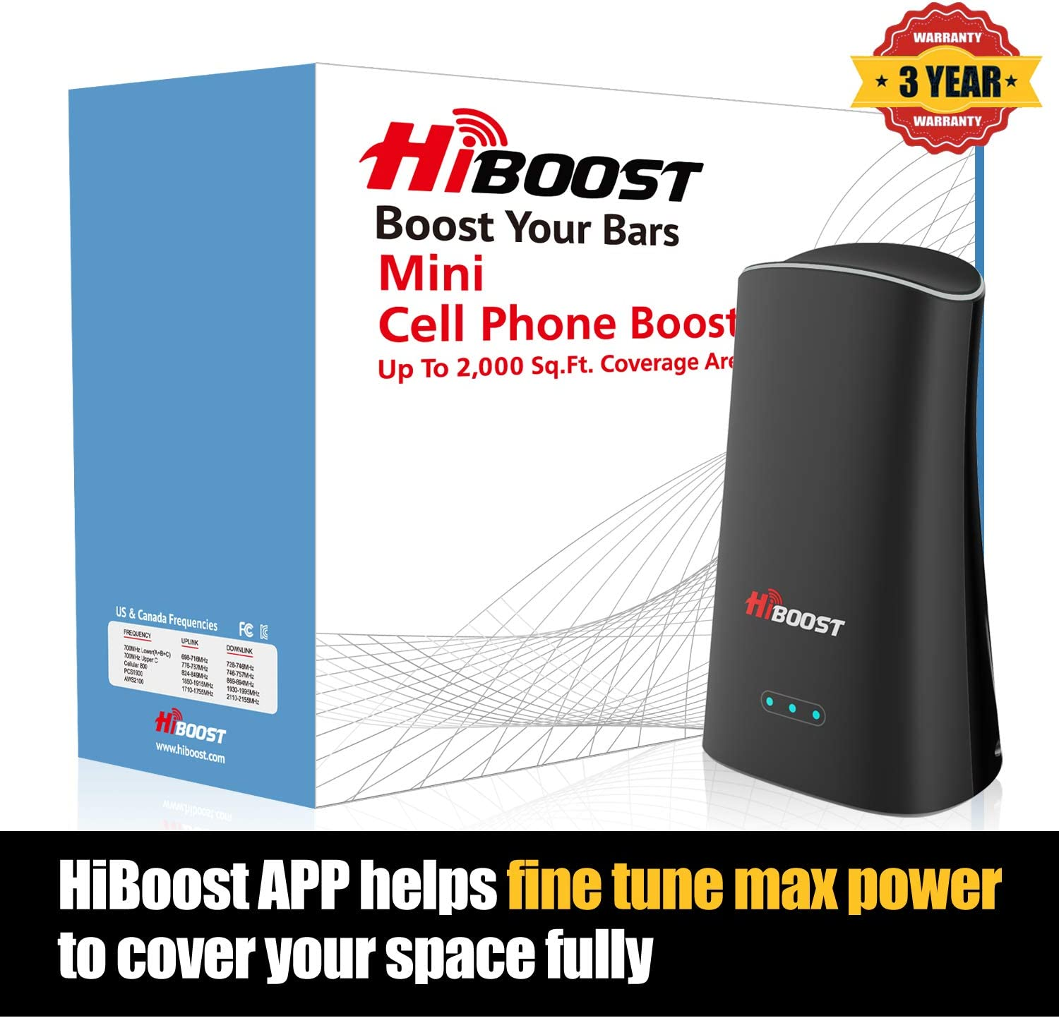 HiBoost Cell Phone Signal Booster Cellular Booster Signal Amplifier for Home and Office up to 2,000 Sq.Ft